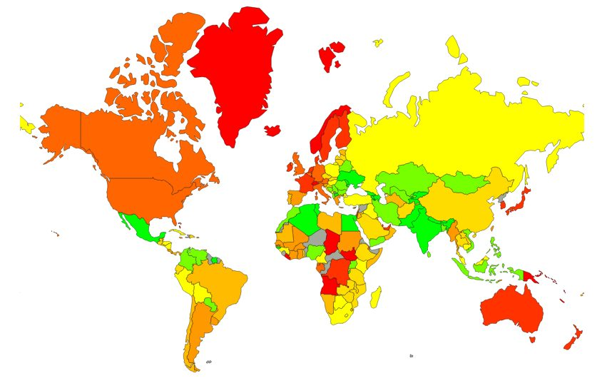 World Average Cost of Living & Prices Map